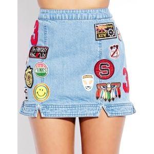 Forever 21 Throwback Patches Denim Skirt